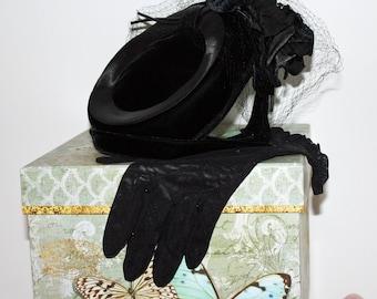 Vintage, Ladies Black Velvet Hat and Van Raalte, Sheer Black Gloves, Estate Sale Finds
