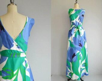 Vintage 70s Malia Maxi Dress /  1970s Mod Oversized Tulip Print Long Luau Halter Sundress / Made in Hawaii NOSWT New Old Stock