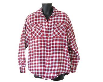 Vintage Men Flannel Shirt Flannel Jacket Red Flannel Shirt Blue Flannel Shirt Grunge Flannel Shirt 90s Grunge Clothes Plaid Flannel Shirt