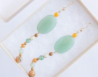 SHIDA earrings, light green earrings, aventurine boho dangle earrings, gold drop earrings, multicolored earrings, jasper, agate earrings