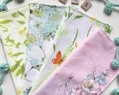 NEW SPRING Vintage Floral Fabric Dinner Napkins Variety, Set of 4