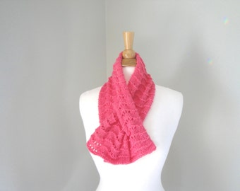 Pink Cashmere Neck Warmer Keyhole Scarf, Pull Through Ascot Scarf, Bright Pink