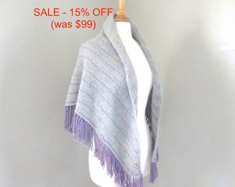 Hand Knit Shawl Wrap, Soft Warm Wool, Silver Gray & Plum Purple, Shawl with Fringe, Triangle Prayer Shawl