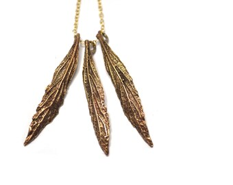 Ancient Bronze Leaf Charm / Natural Leaves Pendant Necklace Gold Filled Flat Cable Chain / Nature Inspired / Lost Wax Casting / 20 Inches
