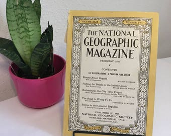 Vintage Magazine, February 1926, National Geographic, free shipping US & Canada