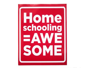 Homeschooling Equals Awesome Pink and White Removable Vinyl Bumper Sticker