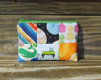 Zipper Pouch, Quilted Zipper Pouch, Space Pouch, Pineapple Pouch, Whale Pouch, One of a Kind