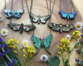 sale INTO THE LIGHT wooden moth image necklace