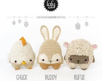 4 seasons: EASTER (Easter Chick, Easter Bunny, Easter Lamb) • lalylala crochet pattern / amigurumi