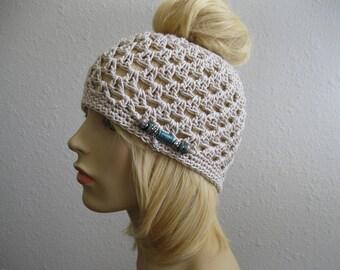 Crochet Beanie -  Ivory Summer Beanie - Juliet Beanie -Messy Bun Hat - Beanies - Crocheted Beanies - Beanie Hats - Juliet Cap -Skullcap