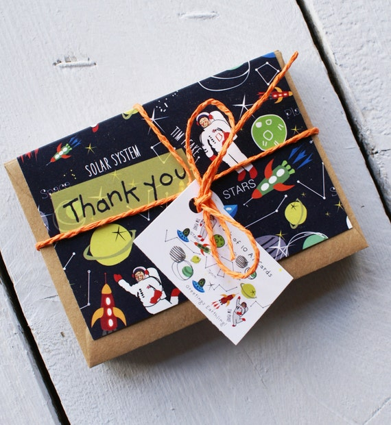 Pack of little thank you cards - Astronaut - for kids - Pack of 10 - A7 cards - Notelets