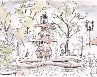 Fountain Providence Rhode Island, Federal Hill, Little Italy 8.5x11 giclee art print of painting of Providence, Landscape & Architecture
