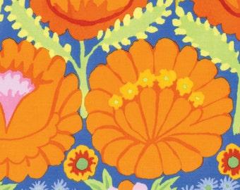 Artisan by Kaffe Fassett for Free Spirit - Embroidered Flower Border - Orange - FQ - Fat Quarter Cotton Quilt Fabric  1116
