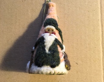 Needle Felted African American Santa Cone Shape Christmas Ornament