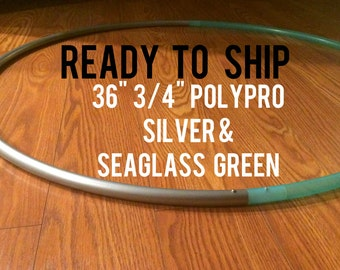 """Ready to Ship Two Tone 36"""" 3/4"""" POLYPRO Dance & Exercise Hula Hoop - seaglass green and metallic silver"""