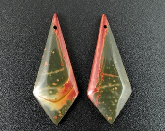 Awesome Cherry creek jasper earrings pair, Natural cabochon, Jewelry making supplies S7479