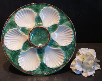 French Longchamp Majolica Oyster Plate. Green Majolica Wall Plate.