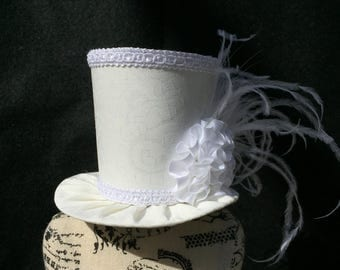 White Paisley Mad Hatter Mini Top Hat for Wedding. Dress Up, Birthday, Tea Party or Photo Prop