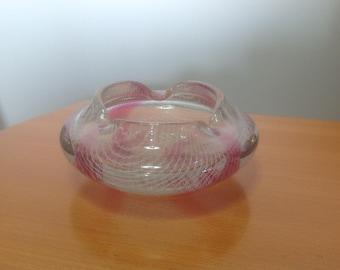 Vintage Harrachov Harrach glass work Milan Metelack Czech  bohemian white merletto