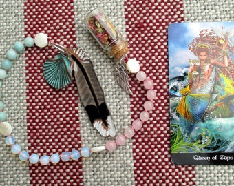 Aphrodite Pagan Prayer Beads with Charm Bottle