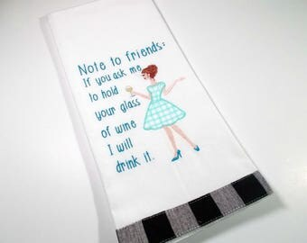 Embroidered Towel - Funny Wine Towel -  Kitchen Towel - Hand Towel - Wine lover gift - Drunk Friend Gift - 10 dollar gift - Kitchen towel