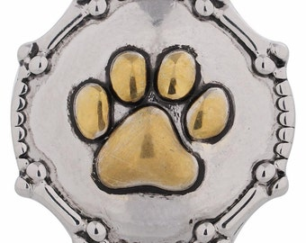 1 PC - 18MM Paw Print Bones Gold Silver Charm for Candy Snap Jewelry KC5111 Cc2944