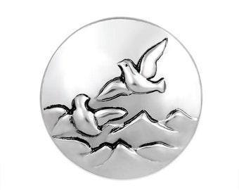 1 PC 18MM Flying Birds Silver Candy Snap Charm Limited Edition CC3121