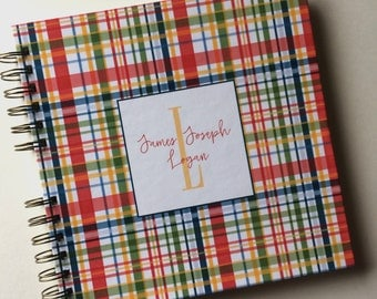 Baby Book |  Baby Memory Album | Plaid Wire Bound Baby Memory Book