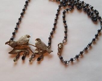 VINTAGE love  BIRD couple necklace