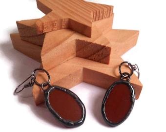 Glass Earrings Stained Glass Earrings Brown Oval Earrings Handmade Earrings Glass Metal Jewlery Oval Dangle Earrings Stained Glass Jewelry