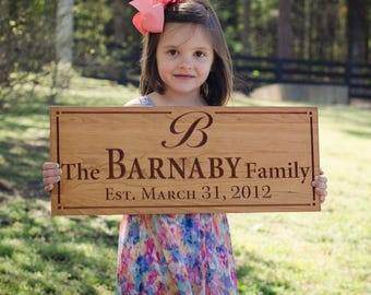 Personalized Last Name Wood Sign, Custom Wedding Sign, Custom Date Sign, Wood Established Sign, Benchmark Custom Signs, Cherry WW