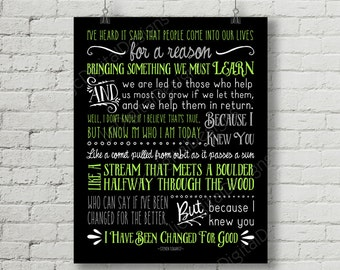 Printable Wicked Broadway Musical Lyrics For Good Digital Word Art Typography Poster Decoration 11x14 and 8x10 INSTANT DOWNLOAD