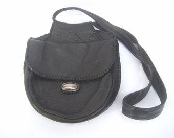 Unique Sterling Silver Buckle Black Leather Shoulder Bag c 1980