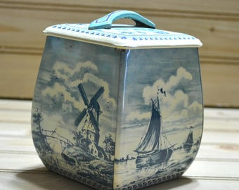 Vintage Blue & Ivory Biscuit Tin Container Tea Spices Square Decorative Natical Sea Windmill Enamel MFM Holland Dutch Collectible Prop