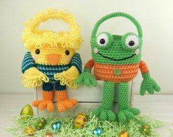 Chick and Frog Easter Baskets - Amigurumi crochet pattern