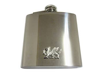 Silver Toned Textured Welsh Dragon 6oz Flask