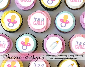 "Baby Girl Mini Edible Icing Cupcake Toppers - 1.5"" - PRE-CUT"