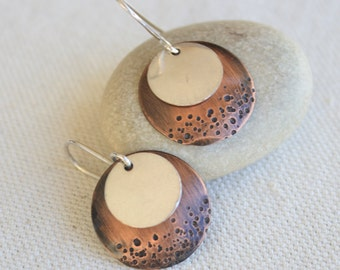 Copper and silver disc earrings