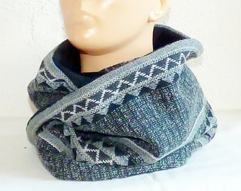 Round scarf / Loop / Circle scarf - gray-black