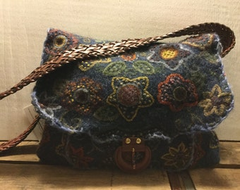 Repurposed Felted Sweater Bag Boho Purse