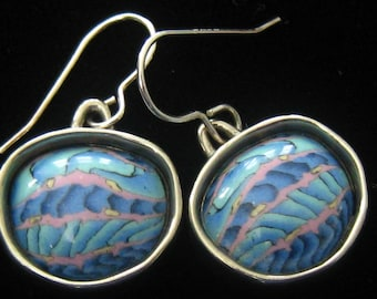 SALE Tim GARVIN of Blue Bus Studio, Durham NC. made these Millefiore Cabochon Drop Earrings. Silver Filled Ear Wires & 4 mm High Bezels.