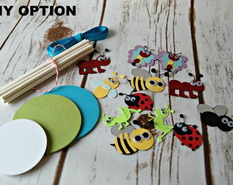 DIY Kit Bug Party Cupcake Toppers, Insect Party Cupcake Toppers (set of 12)