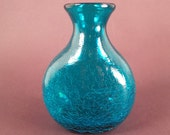 Blue Green Crackle Glass Small Hand Blown Vase