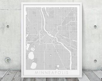Minneapolis Urban Map Print. Minneapolis City Street Map Poster. Grey Minneapolis Minnesota Map Print. Abstract Map Wall Art. Printable Art