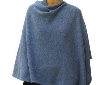 Denim blue 100% cashmere poncho
