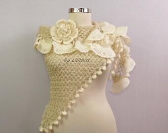 Crochet Shawl, Wedding Bridal Shawl, Crochet Scarf, Triangle Ruffle Shawl, Shrug Bolero, Romantic Chic Shoulder Wrap, Ivory Bridesmaid Shawl