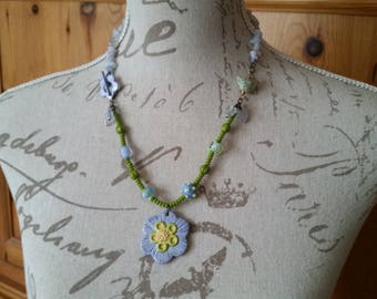 Handmade lilac and green sping flower necklace