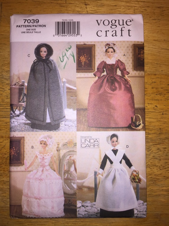 "Vogue Crafts Sewing Pattern 7039 11 1/2"" Fashion Doll Clothes Historical Outfits"