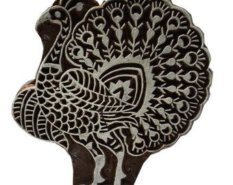 Peacock Intricate carving Stamp for Printing - Textile and Paper Printing Stamp - Block Printing Supply - SCrapbooking - Gift for Her