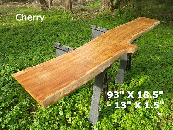 Live edge bar top finished cherry wood slab natural edge for Finished wood slabs